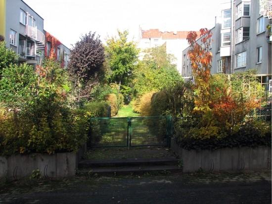 Stadthäuser Lützowstraße, Gärten mit Erschließungsweg, Zustand Oktober 2012; Foto: Dirk Kaden