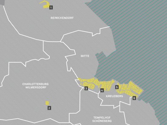 Die IBA-Demonstrationsgebiete: 1 – Tegeler Hafen; 2 – Prager Platz; 3 – Südliches Tiergartenviertel; 4 – Südliche Friedrichstadt; 5 – Kreuzberg Luisenstadt; 6 – Kreuzberg SO 36