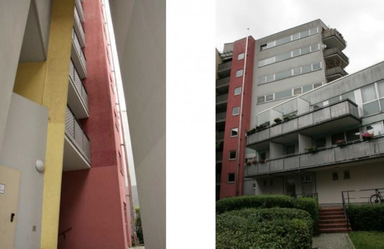 Links Blick in den Durchgang zw. Los 1 und Los 2 (auf der Dessauer Straße), rechts Hofansicht Stresemannstraße 105–109, Zustand 2012; Fotos: Corinna Tell, 2012