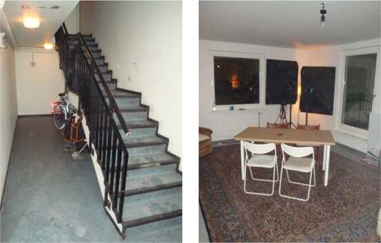 Links Treppenhaus, rechts Wohnraum der Dachmaisonette mit Glastür zur Dachterrasse, Zustand November 2010; Fotos: Andreas Salgo