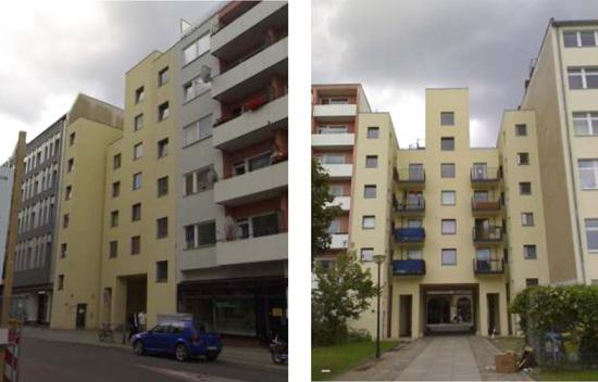 Links Straßenseite, rechts Hofseite, Zustand November 2010; Fotos: Andreas Salgo