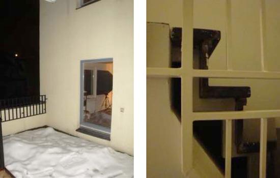 Links Seitliche Dachterrasse der Maisonette, rechts Detail Maisonettentreppe, Zustand November 2010; Fotos: Andreas Salgo