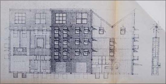 Ansichtszeichnung, Bauvoranfrage, 1984; Quelle: Bauaktenarchiv Bezirksamt Kreuzberg von Berlin
