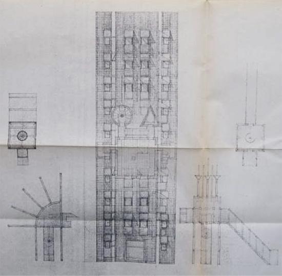 """Ansichtszeichnung Südfassade Turm mit Architekturspielelementen """"the painter"""" und """"the musician"""", Bauvoranfrage, 1984; Quelle: Bauaktenarchiv Bezirksamt Kreuzberg von Berlin."""