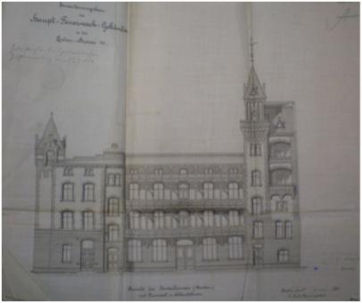 Ansichtsplan des Erweiterungsbaus, 1986; Quelle: Bauaktenkammer Bezirksamt Friedrichshain-Kreuzberg