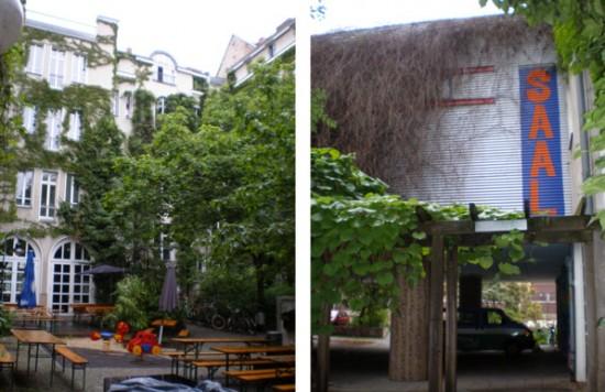 Links Hofansicht Blick nach Westen, rechts Veranstaltungssaal, Blick von Hof nach Osten, Zustand Juli 2011; Foto: Marina Bereri