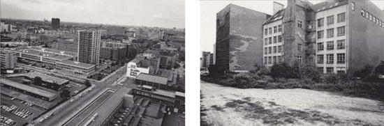 links Blick auf die Kochstraße Richtung Westen vom Springerhochhaus, 1980; rechts Zimmerstraße, 1980; Quelle: Landesarchiv Berlin.