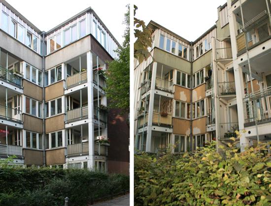 Gestaffelte Ostfassade mit deutlichem Sanierungsbedarf, Zustand 2011; Fotos: Corinna Tell