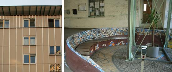 Links Detail Panelverkleidung Ostfassade, rechts Eingangsbereich verglaster Innenhof (Köpenicker Straße 190–191), Zustand 2011; Fotos: Corinna Tell