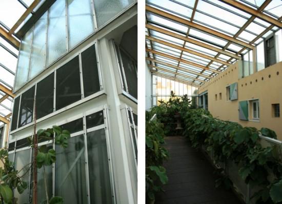Links Aufzug, rechts Dachlösung und Durchbrüche Brandmauer, Zustand 2011; Fotos: Corinna Tell