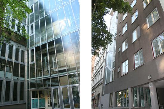 Links Eingangsbereich Nordfassade mit Anschluss Innenhof und Neubau, rechts Nordfassade Köpenicker Straße 193 (Neubau) mit Anschluss an Nr. 194 (Altbau), Zustand 2011; Fotos: Corinna Tell