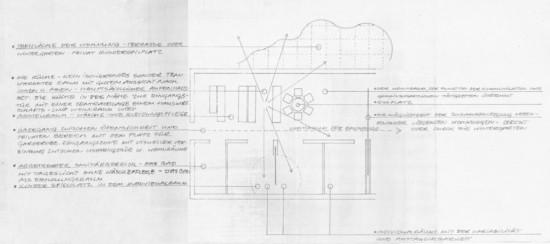 Entwurf Wohnungsgrundriss Dessauer Straße 38–40, Myra Warhaftig; Quelle: LAB B Rep. 168, IBA Intern. Bauausstellung, Nr. 1440