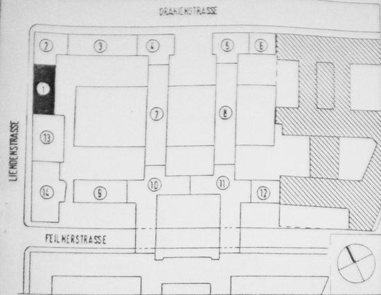 Zeichnung mit der Nummern der ausgeführten Bauten im Block 28; Quelle: Bauaktenkammer Bezirksamt Friedrichshain-Kreuzberg