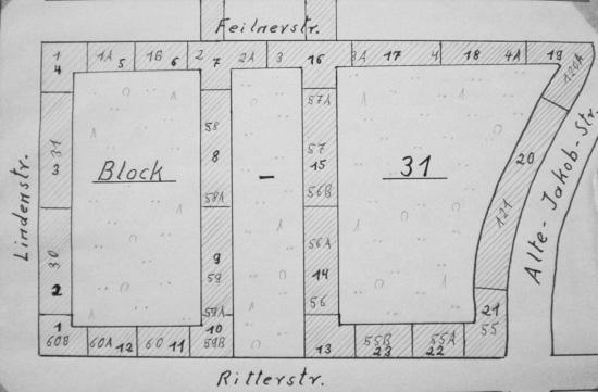 Zeichnung mit der Nummern der ausgeführten Bauten im Block 31; Quelle: Bauaktenkammer Bezirksamt Friedrichshain-Kreuzberg